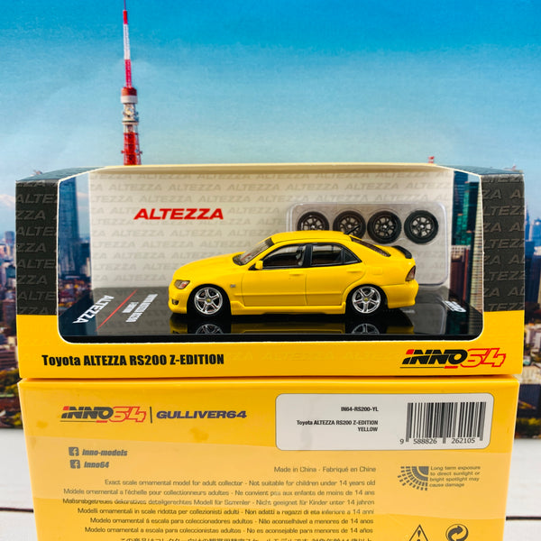 INNO64 1/64 TOYOTA ALTEZZA RS200 YELLOW (Japan Special Model) WITH EXTRA WHEELS AND DECALS IN64-RS200-YL