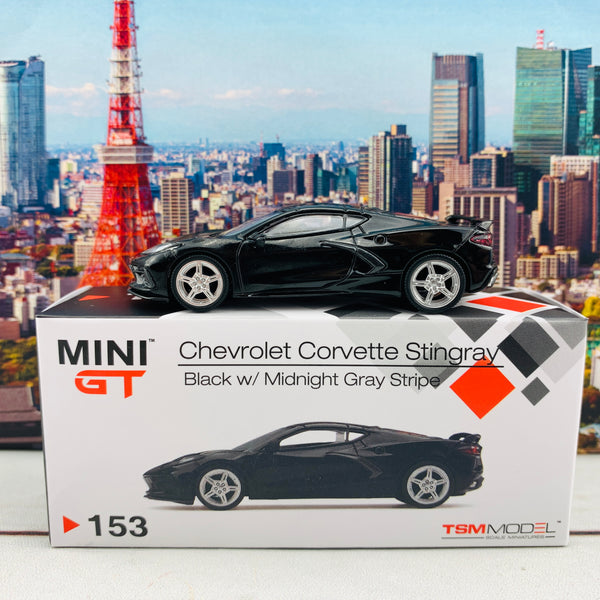 MINI GT 1/64 Chevrolet Corvette Stingray 2020 Black w/ Midnight Gray Stripe LHD MGT00153-L
