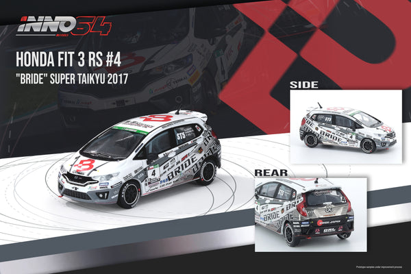 "PREORDER INNO64 1/64 HONDA FIT 3 RS #4 ""BRIDE"" Super Taikyu 2017 IN64-GK5-4ST97 (Approx. Release Date : June 2020)"