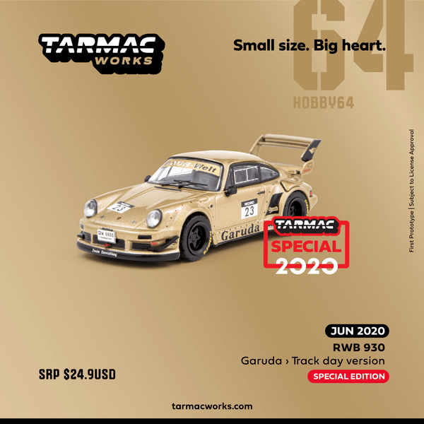 PREORDER Tarmac Works 1/64 Hobby Collection RWB 930 Garuda - Track day version (2020 Indonesia Special Edition) *** Limited to 2976pcs *** T64-015-GA2 (Approx. Release Date : Sep 2020 subject to manufacturer's final decision)