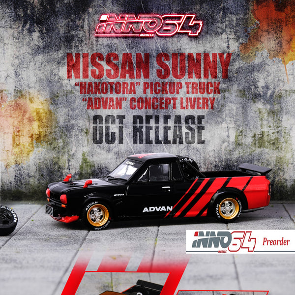 "INNO64 1/64 NISSAN SUNNY ""HAKOTORA"" Pickup Truck ""ADVAN"" Concept Livery WITH EXTRA WHEELS IN64-HKT-AD"