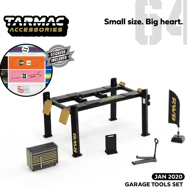 Tarmac Works 1/64 Garage Tools Set RWB - Stickers Included T64A-001-RWB
