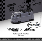 Tarmac Works x Schuco COLLAB64 1/64 Volkswagen T1 Panel Van Mean Streets Special Edition with metal oil can and special paper box T64S-005-FAT