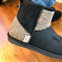 Harris Tweed Boots Black Large
