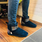 Harris Tweed Boots Navy Blue Medium