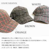 SHES Japan Glen Plaid Wool Cap - Orange