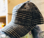 SHES Japan Glen Plaid Wool Cap - Brown