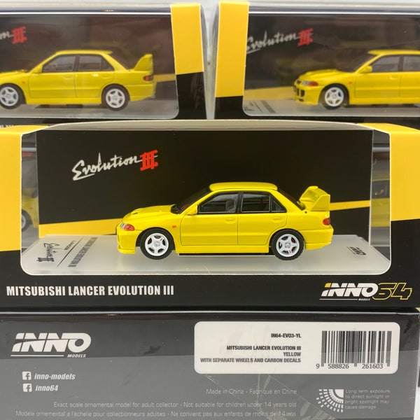 INNO64 1/64 MITSUBISHI LANCER EVOLUTION III 1995 Yellow Whith Separate bonnet carbon decals and Extra wheels IN64-EVO3-YL