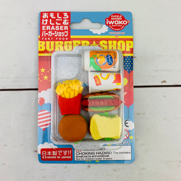 Iwako Japanese Eraser Set - Burger Shop
