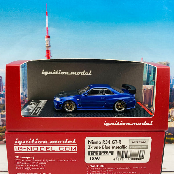 Ignition Model 1/64 Nismo R34 GTR Z-tune Blue Metallic with Carbon Bonnet and GT Wing IG1869