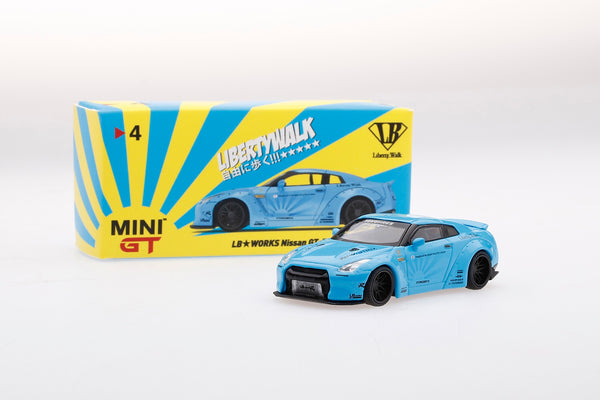MINI GT LIBERTYWALK LB★WORKS Nissan GTR (R35) Light Blue - RHD
