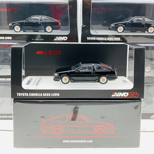 INNO64 1/64 Toyota Corolla AE86 Levin Black with Extra wheels set and water slide decals IN64-AE86-BLA