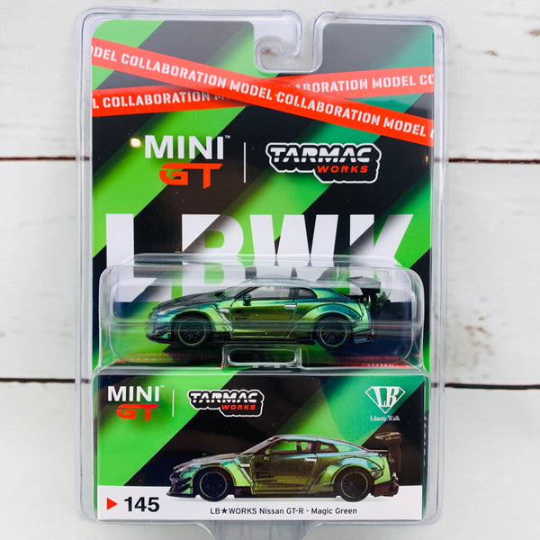 Tarmac Works x Mini GT Collaboration Model 1/64 LB★WORKS Nissan GTR (R35) Type 2, Rear Wing ver 3 Magic Green RHD Blister clamshell Packed MGT00145-R