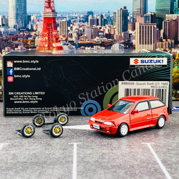 BM CREATIONS JUNIOR 1/64 Suzuki Swift 1989 RED LHD with Extra Wheels, Lowering Parts 64B0026