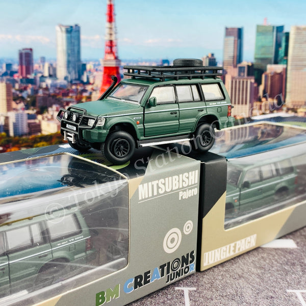 BM CREATIONS JUNIOR 1/64 Mitsubishi Pajero 2nd Generation JUNGLE PACK Matt Green LHD 64B0045