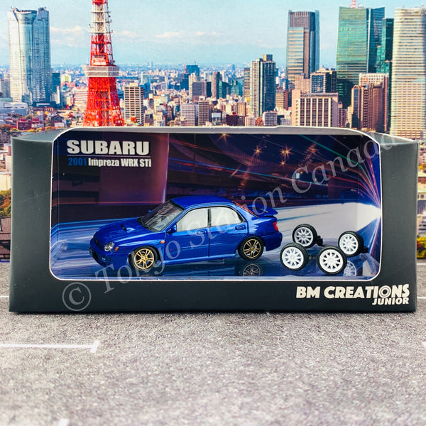 BM CREATIONS JUNIOR 1/64 Subaru Impreza WRX STi 2001 BLUE RHD 64B0078