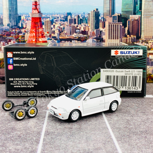BM Creations JUNIOR 1/64 Suzuki Swift 1989 WHITE LHD with Extra Wheels, Lowering Parts 64B0028