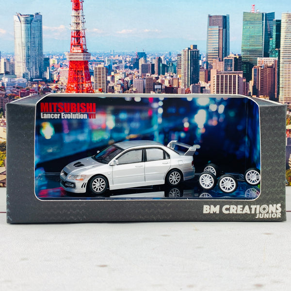 BM Creations JUNIOR 1/64 Mitsubishi Lancer Evolution VII SILVER RHD 64B0086