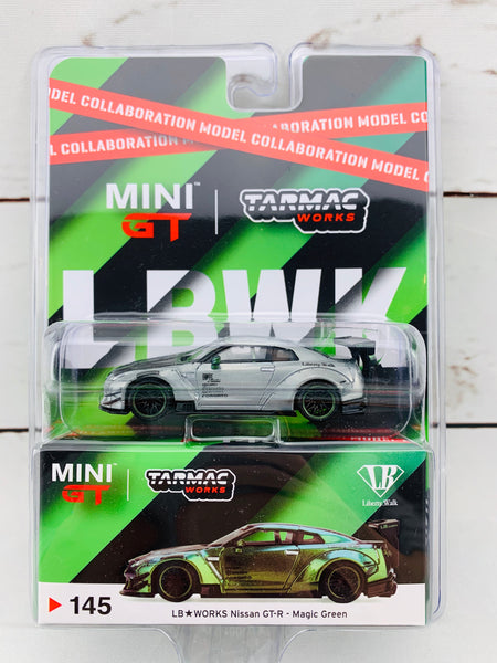 """CHASE CAR"" Tarmac Works x Mini GT Collaboration Model 1/64 LB★WORKS Nissan GTR (R35) Type 2, Rear Wing ver 3 Magic Green RHD Blister clamshell Packed MGT00145-C"
