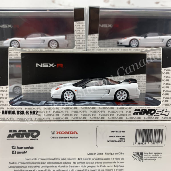 INNO64 HONDA NSX-R NA2 Championship White With Extra Wheels IN64-NSXR-WHI