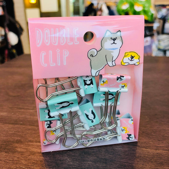 Mine Wave Shiba Inu Double Clips set of 10 pcs Pink and Green