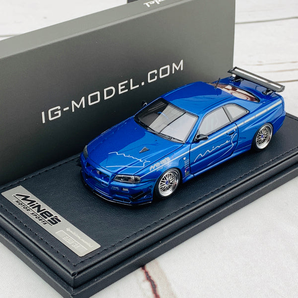 Ignition Model 1/43 Nissan Skyline GTR Mine's R34 Bayside Blue IG1814