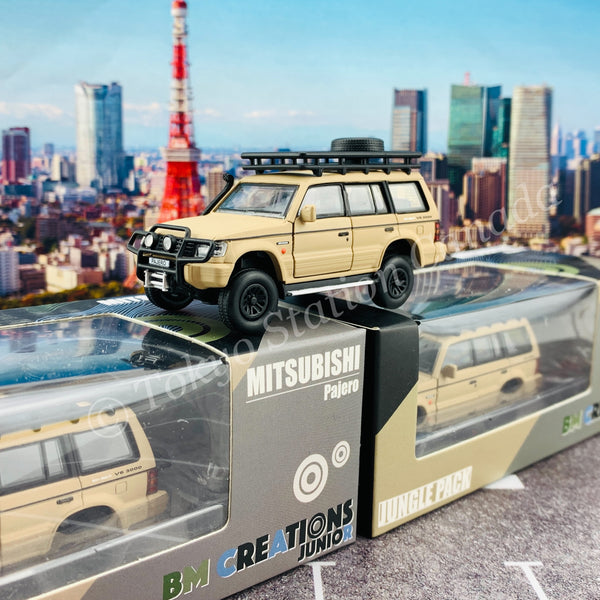 BM CREATIONS JUNIOR 1/64 Mitsubishi Pajero 2nd Generation JUNGLE PACK Matt Ivory LHD 64B0047