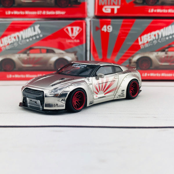 MINI GT 1/64 LB★WORKS Nissan GTR R35 Type 1  Rear Wing Version 2  Satin Silver RHD MGT00049-R