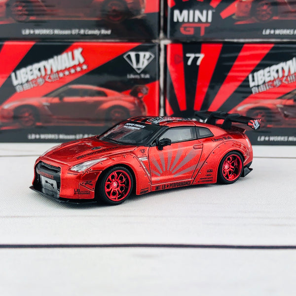 MINI GT 1/64 LB★Works Nissan GTR (R35) Type 1, Rear Wing ver 1+2 Candy Red RHD MGT00077-R
