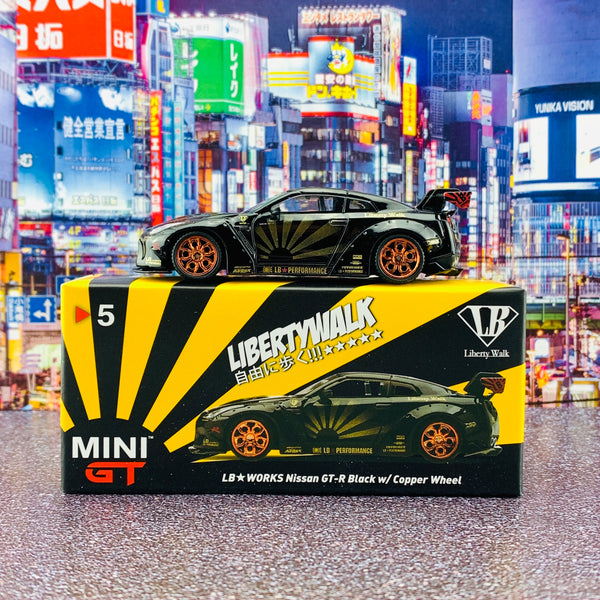 MINI GT 1/64 LB★WORKS Nissan GTR R35 Type 1 Rear Wing ver 1+2 Black w/ Copper Wheel RHD MGT00005-R
