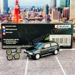 BM Creations JUNIOR 1/64 Suzuki Swift 1989 BLACK LHD with Extra Wheels, Lowering Parts 64B0030