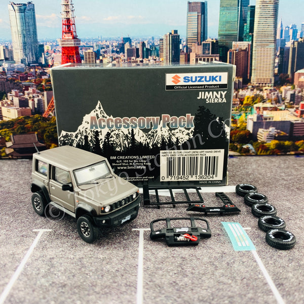 BM CREATIONS JUNIOR 1/64 Suzuki Jimny SIERRAJB74 with Accessory Pack Matt Grey LHD 64B0035