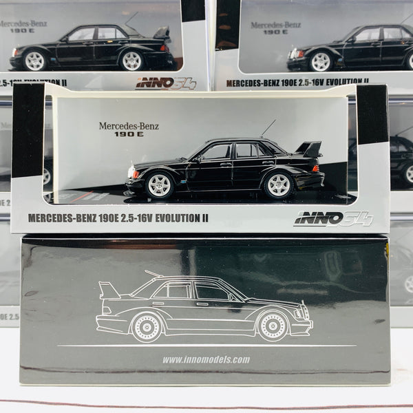 INNO64 MERCEDES-BENZ 190E 2.5-16 EVO II Black With Extra Wheels IN64-190E-BLA