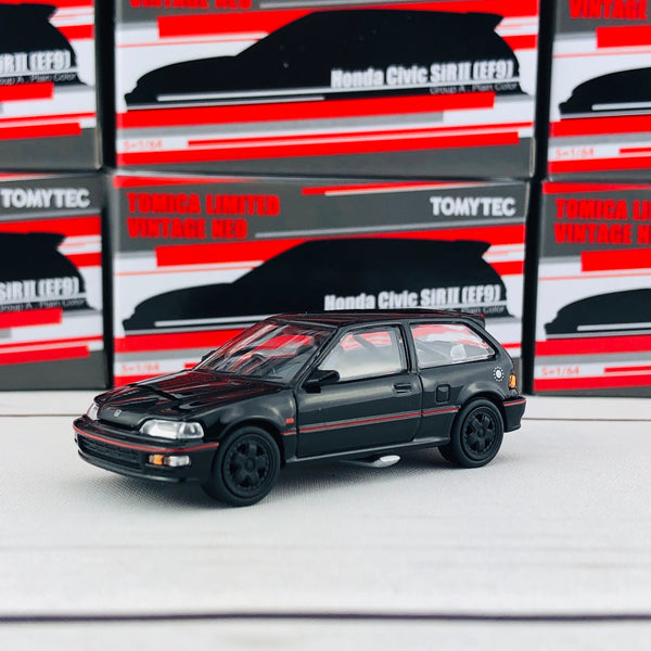 Tomytec Tomica Limited Vintage Neo 1/64 Honda Civic SiR II (EF9) Group A Plain Color Hong Kong Exclusive Black