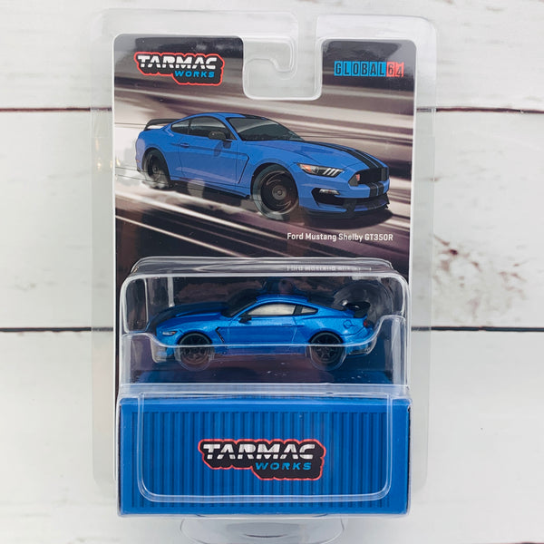Tarmac Works 1/64 Global Collection Ford Mustang Shelby GT350R Blue Metallic T64G-0011-BL