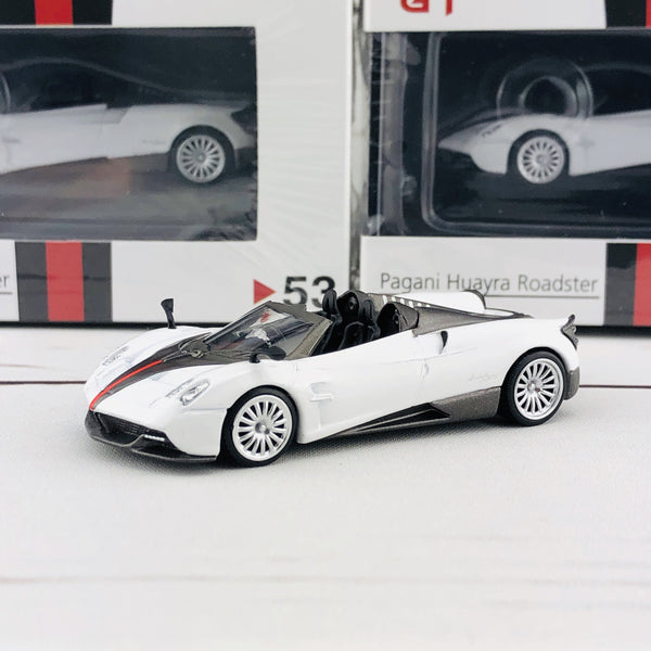 MINI GT Pagani Huayra Roadster RHD White/Black Stripe Hong Kong Exclusive MGT00053-R