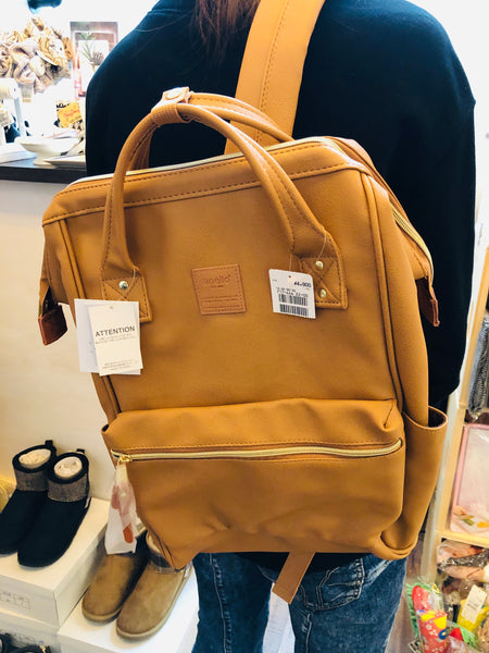 anello® Japan Synthetic Leather Mouthpiece Backpack - Brown AT-B1211
