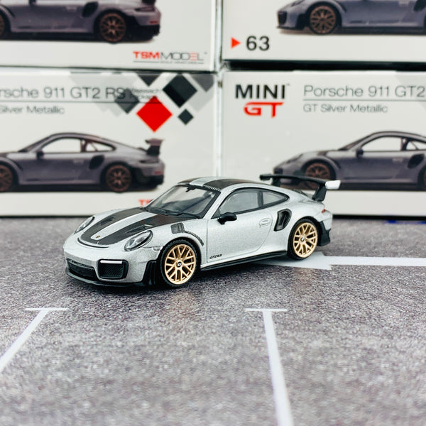 MINI GT 1/64 Porsche 911 Turbo GT2 RS GT Weissach Package Silver Metallic RHD MGT00063-R