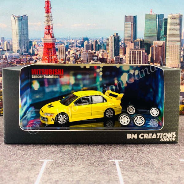 BM CREATIONS JUNIOR 1/64 Mitsubishi Lancer Evolution VII YELLOW RHD 64B0084