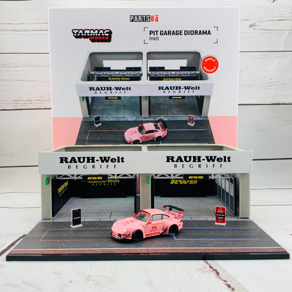 Tarmac Works 1/64 Pit Garage Diorama - RWB - PART64 T64D-001-RWB Includes exclusive model T64-017-HO RWB 993 HootersTarmac Works 1/64 Pit Garage Diorama - RWB - PART64 T64D-001-RWB Includes exclusive model T64-017-HO RWB 993 Hooters