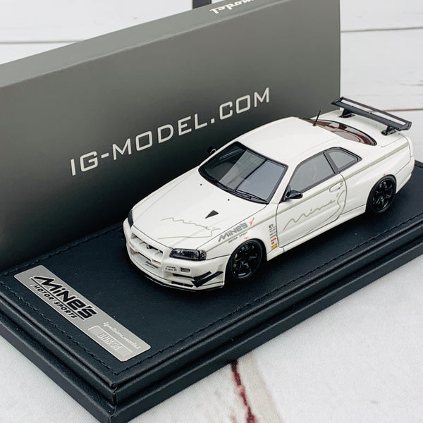 Ignition Model 1/43 Nissan Skyline GTR Mine's R34 White IG1812