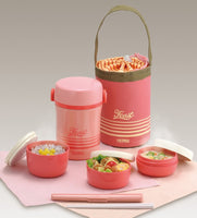 THERMOS Lunch box with tote bag and chopstick - Pink