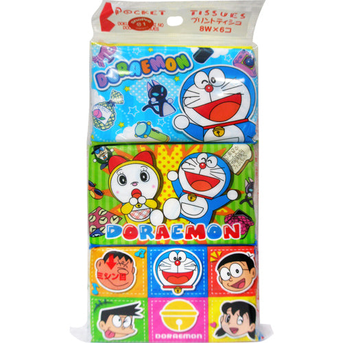 KAWANO Doraemon Pocket Size Tissue x 6 Packs