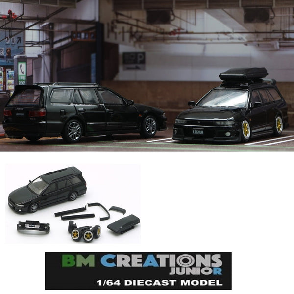 BM Creations JUNIOR 1/64 Mitsubishi Legnum Vr4 BLACK RHD with Extra Wheels, Lowering Parts 64B0156