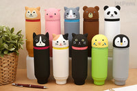 "LIHIT LAB Japan Animal ""Standing"" Pencil Case - Cat A-7712-7"