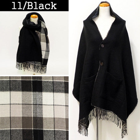 Lune Jumelle Checker Pocket Poncho Stole Black LM726610-11