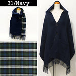 Lune Jumelle Checker Pocket Poncho Stole Navy LM726610-31
