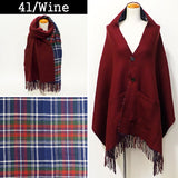 Lune Jumelle Checker Pocket Poncho Stole Wine LM726610-41