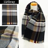 Lune Jumelle Plaid Scraf - Gray QC828007-12