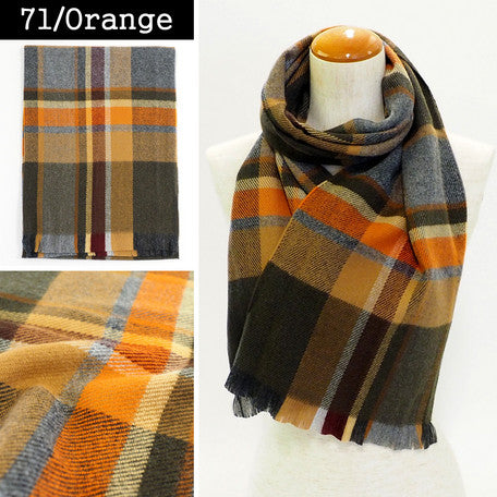 Lune Jumelle Plaid Scarf - Orange QC828523-71 Made in France
